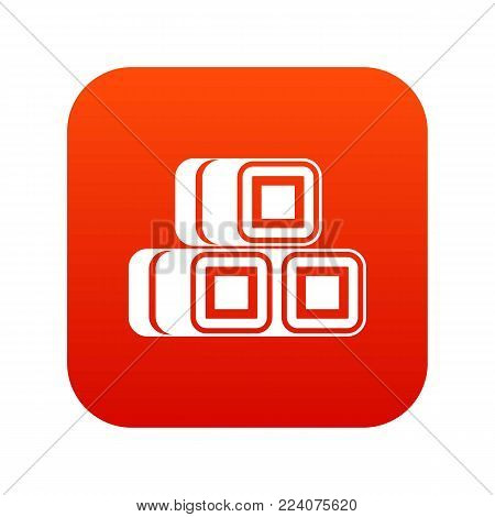 Hay bundles icon digital red for any design isolated on white vector illustration