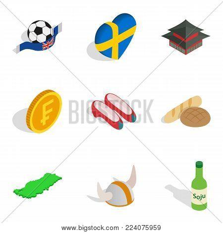 Fatherland icons set. Isometric set of 9 fatherland vector icons for web isolated on white background