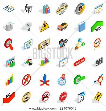 Instruction icons set. Isometric set of 36 instruction vector icons for web isolated on white background