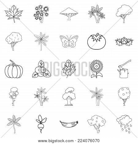 World of nature icons set. Outline set of 25 world of nature vector icons for web isolated on white background