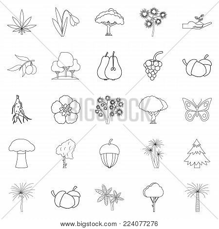 Variety of flora icons set. Outline set of 25 variety of flora vector icons for web isolated on white background