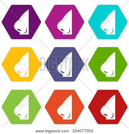 Rhinoplasty of nose icon set many color hexahedron isolated on white vector illustration