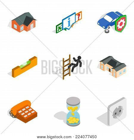 Capital repair icons set. Isometric set of 9 capital repair vector icons for web isolated on white background