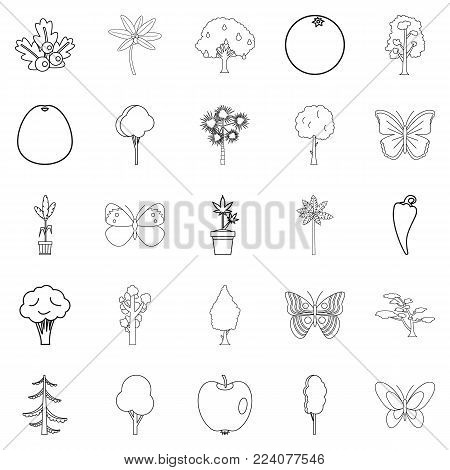 Diversity of flora icons set. Outline set of 25 diversity of flora vector icons for web isolated on white background