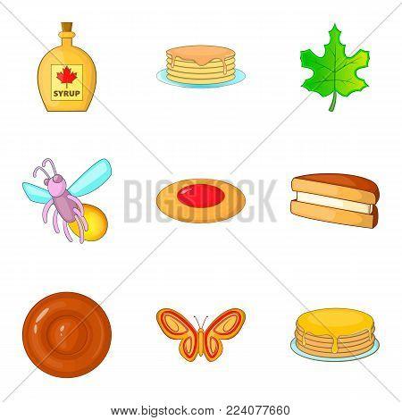 Honey flower icons set. Cartoon set of 9 honey flower vector icons for web isolated on white background