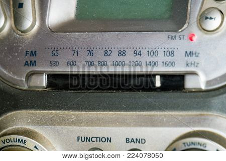 The tuning dial of the receiver on the old Boombox