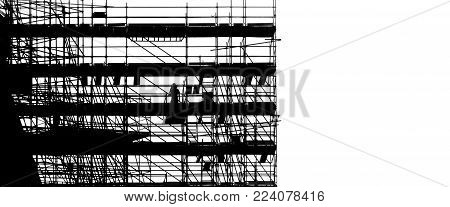 black silhouette on white background scaffolding at building construction, profile structure of scaffolding, construction, architecture and engineering work