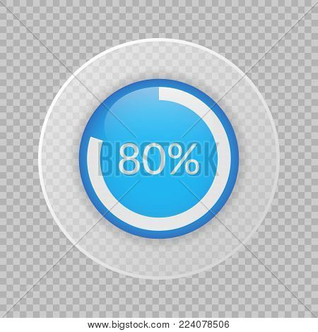 80 percent pie chart on transparent background. Percentage vector infographics. Circle diagram isolated. Business illustration icon for marketing project, finance, financial report, web design