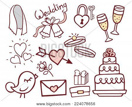 Wedding outline hand drawn icons vector illustration. Married celebration music groom invitation elements. Wedding ceremony engagement collection.