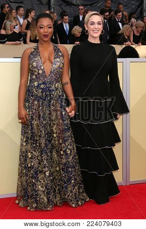 LOS ANGELES - JAN 21:  Samira Wiley, Lauren Morelli at the 24th Screen Actors Guild Awards - Press Room at Shrine Auditorium on January 21, 2018 in Los Angeles, CA