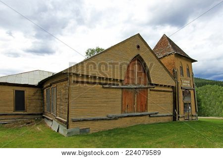 The wooden historic St Andrews church, Dawson City, Yukon, Canada