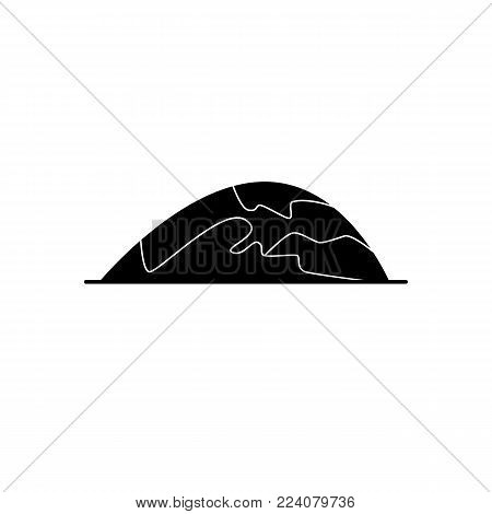 Low rounded hill silhouette icon in flat style. Mountain symbol isolated on white background