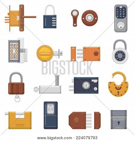 Lock vector padlock with keyhole for safety and security locking system with locked secure mechanism to interlock or lockout doorlock illustration set isolated on white background.