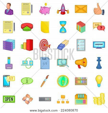 Retail trade icons set. Cartoon set of 36 retail trade vector icons for web isolated on white background