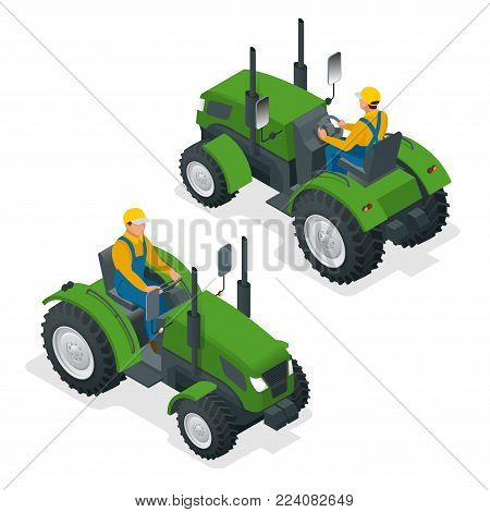 Isometric Tractor works in a field. Agriculture machinery. Plowing in the field. Heavy agricultural machinery for fieldwork. Vector illustration
