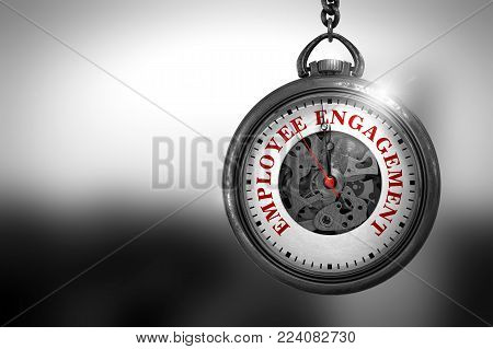 Employee Engagement on Vintage Pocket Watch Face with Close View of Watch Mechanism. Business Concept. Business Concept: Vintage Watch with Employee Engagement - Red Text on it Face. 3D Rendering.