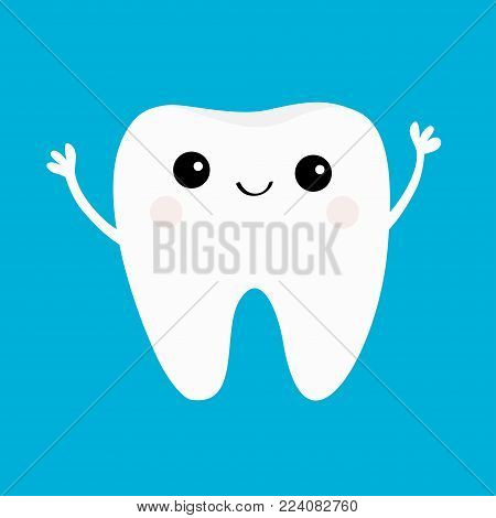 Healthy tooth icon. Smiling head face. Beautiful smile. Oral dental hygiene. Children teeth care. Cute cartoon character. Hands up. Whitening concept. Blue background. Flat design. Vector illustration