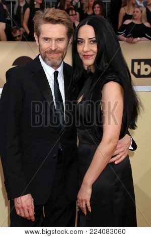LOS ANGELES - JAN 21:  Willem Dafoe, Giada Colagrande at the 24th Screen Actors Guild Awards - Press Room at Shrine Auditorium on January 21, 2018 in Los Angeles, CA