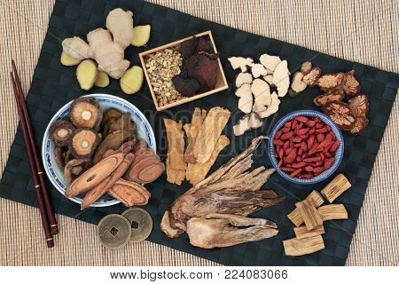 Traditional chinese herbs used in alternative herbal medicine with feng shui coins. Top view on bamboo background.