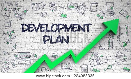 Development Plan Inscription on the Modern Style Illustation. with Green Arrow and Doodle Icons Around. Development Plan - Increase Concept with Doodle Icons Around on White Brick Wall Background.