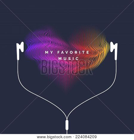 Vivid illustration with headphones and sound waves. Vector illustration