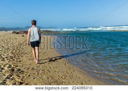 Man Walking Beach Ocean Pool