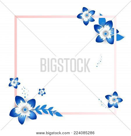 Paper art of decor flowers.Spring  paper cut  frame with flowers vector