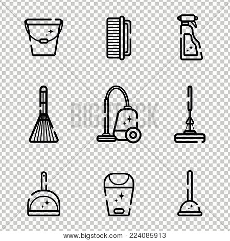 Vector set of flat icons for cleaning tools at home. Isolated objects on a transparent background. Cleaning the room, washing the floor and windows. Linear style.