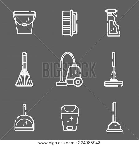 Vector set of flat icons for cleaning tools at home. Isolated objects on a dark background. Cleaning the room, washing the floor and windows. Linear style.