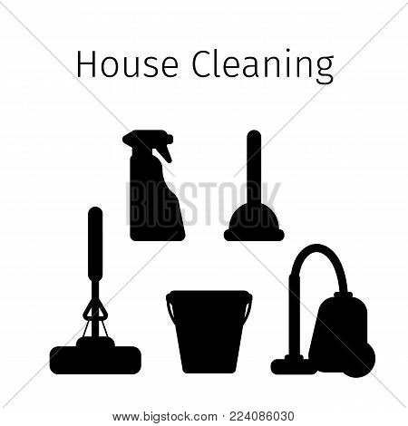 Vector set of flat icons for cleaning tools at home. Isolated objects on white background. Cleaning the room, washing the floor and windows. Linear style. silhouettes of objects.