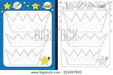 Preschool worksheet for practicing fine motor skills - tracing dashed lines of gems on crowns