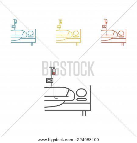 Hospital bed or hospital ward symbol. Man in a coma. Vector illustration