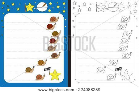 Preschool worksheet for practicing fine motor skills - tracing dashed lines of snail trails