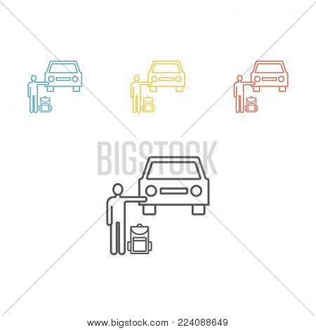 Hitchhiking road travel. Man with a backpack stopped car. Vector illustration for websites