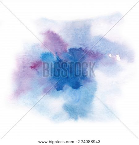 Abstract background.Watercolor splash has drawn manually blue, pink, lilac tone. White background beautiful spot spot. Place for the text. Abstract watercolor background painted manually.