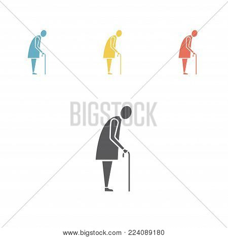 Old Woman Icon. Grandmother silhouette vector icon. Vector illustration for web