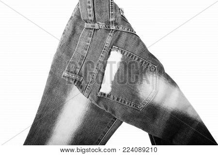 Denim Jeans Background With Seam of Jeans Fashion Design. Stitched Texture Denim Jeans Background of Fashion Jean Design