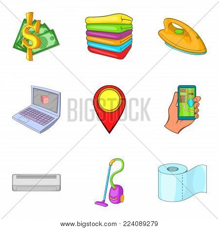 Stay overnight icons set. Cartoon set of 9 stay overnight vector icons for web isolated on white background