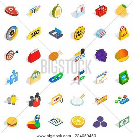 Financial trading icons set. Isometric set of 36 financial trading vector icons for web isolated on white background