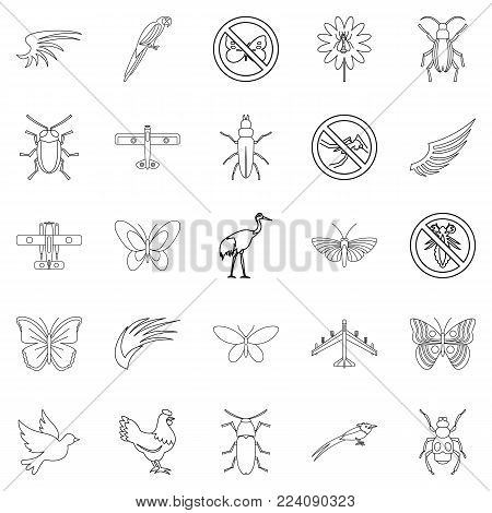 Fly voyage icons set. Outline set of 25 fly voyage vector icons for web isolated on white background