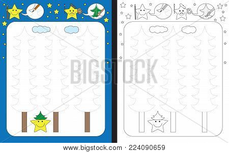 Preschool worksheet for practicing fine motor skills - tracing dashed lines of pine trees