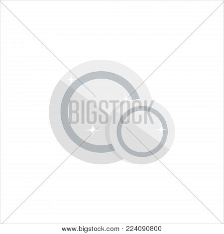 Empty white plates isolated on white background. Big and small clean dishes - flat vector illustration.