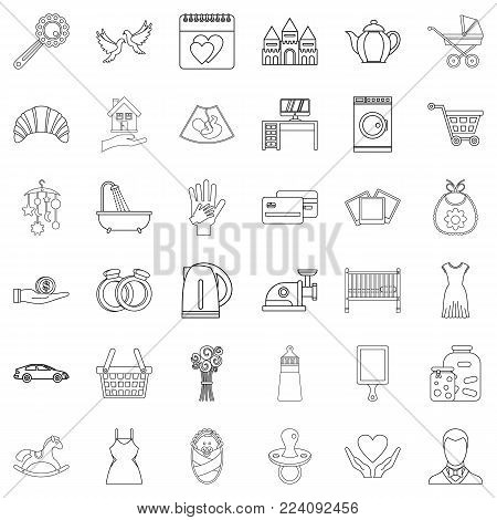 Domesticity icons set. Outline set of 36 domesticity vector icons for web isolated on white background