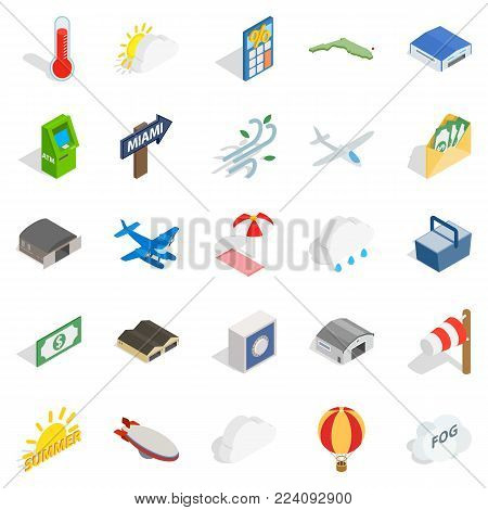 Air force icons set. Isometric set of 25 air force vector icons for web isolated on white background