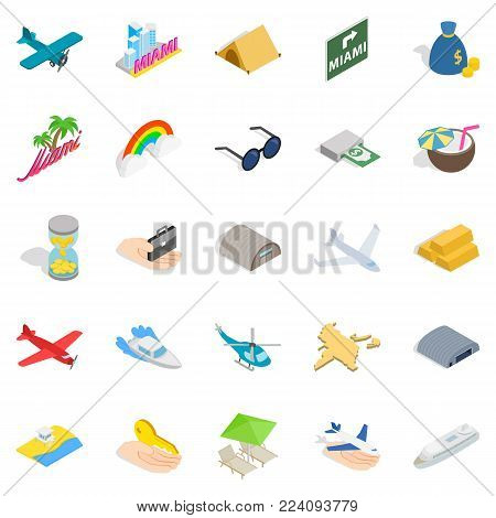 Aeronautic icons set. Isometric set of 25 aeronautic vector icons for web isolated on white background