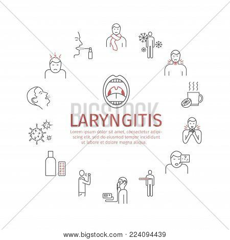 Laryngitis. Symptoms, Treatment. Icons set Vector signs for web graphics
