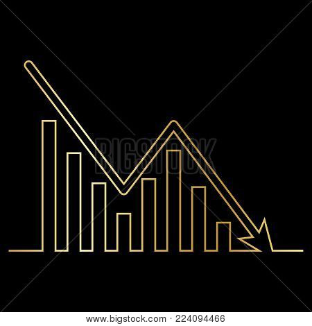 Continuous gold line drawing of graph icon isolated on black background. Downside trend graph, bar chart image with arrow down. Vector illustration for banner, template, poster, postcard, web, app, infographics.