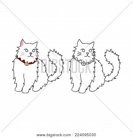 Cute White Persian Cat. Vector Illustration. isolated on White Background.