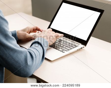 e-commerce advertisement. Laptop computer with white screen. Modern technology