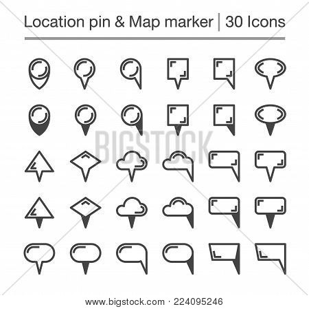 location pin and map marker line icon set